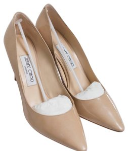 Jimmy Choo Suede Black Romy Nude Patent Leather Pumps