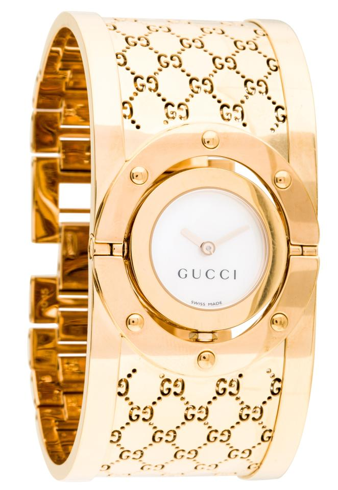 5e8f53073a4 Gucci Gold-tone stainless steel 33mm Gucci Guccissima monogram Twirl Watch  Image 0 ...