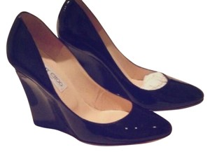 Jimmy Choo 247 Almos Wedge Patent 38 Euro Size black patent Wedges