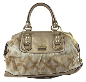 Coach Satchel in Khaki/Gold