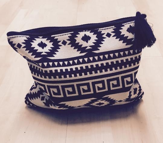 Other Tribal Print Make Up Black & White Clutch Image 1