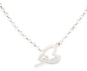 Gucci Sterling silver Gucci beaded heart necklace
