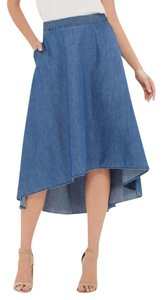The Limited Chambray Hi-low Skirt Blue