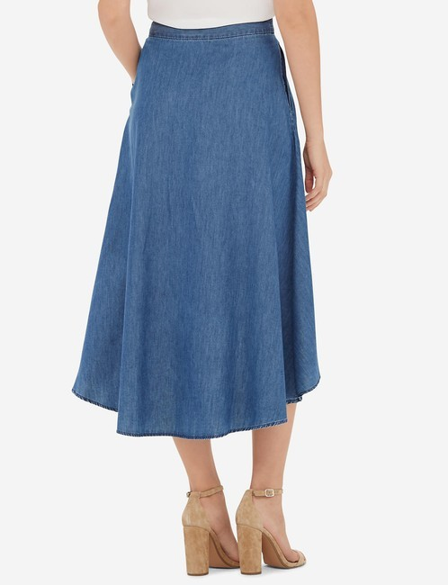The Limited Chambray Hi-low Skirt Blue Image 1