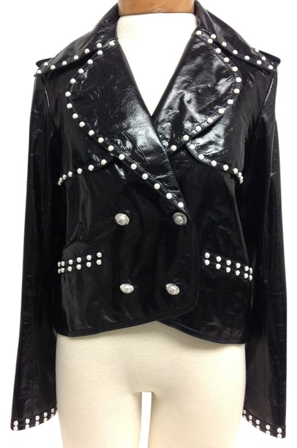 Item - Black Patent with Faux Pearl Trim Jacket Size 6 (S)
