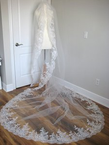 Off White Long Cathedral - Cindy Bridal Veil