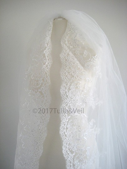 Off White Long Cathedral - Cindy Bridal Veil Image 1