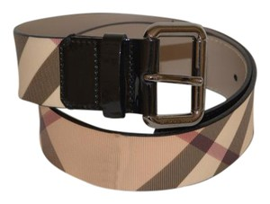 Burberry NWT BURBERRY NOVA CHECK PATENT LEATHER BELT SZ 28/70 MADE IN ITALY