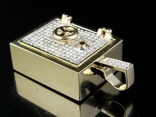 Jewelry Unlimited Men's Solid Yellow Gold Safe Open-and-Close-Door Diamond 1.4