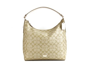 Coach White Khaki Crossbody Hobo Bag