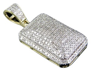 Jewelry Unlimited Men's 10K Yellow Gold Real Diamond Dome Pillow Pendant Charm 3/4 ct 1.