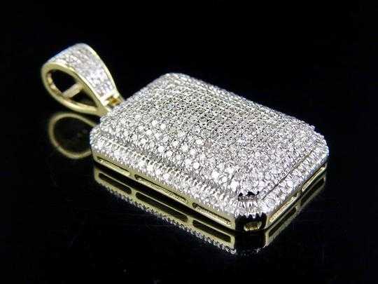 Jewelry Unlimited Men's 10K Yellow Gold Real Diamond Dome Pillow Pendant Charm 3/4 ct 1. Image 1