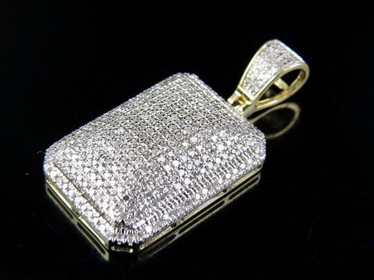Jewelry Unlimited Men's 10K Yellow Gold Real Diamond Dome Pillow Pendant Charm 3/4 ct 1. Image 3