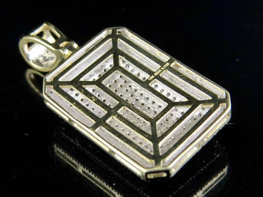 Jewelry Unlimited Men's 10K Yellow Gold Real Diamond Dome Pillow Pendant Charm 3/4 ct 1. Image 5