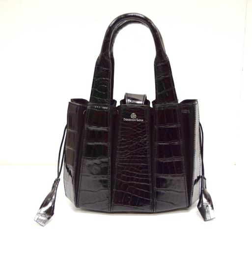 Domenico Vacca Pumpkin Shape Magnetic Closure Double Handle Structured Bottom Suede Lining Tote in Black Image 1
