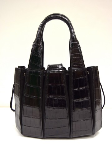 Domenico Vacca Pumpkin Shape Magnetic Closure Double Handle Structured Bottom Suede Lining Tote in Black Image 2