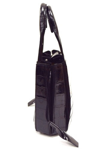 Domenico Vacca Pumpkin Shape Magnetic Closure Double Handle Structured Bottom Suede Lining Tote in Black Image 4