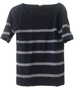 J.Crew Top base is blue with light blue or grey stripes
