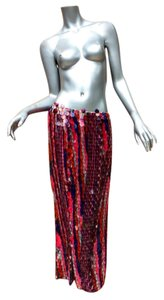 designer couture Maxi Skirt red white and blue