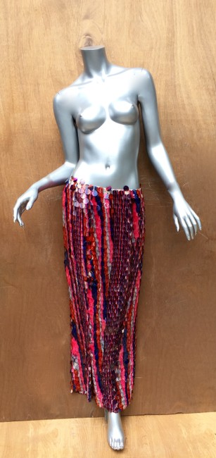 designer couture Maxi Skirt red white and blue Image 2