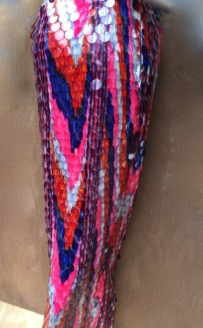 designer couture Maxi Skirt red white and blue Image 3