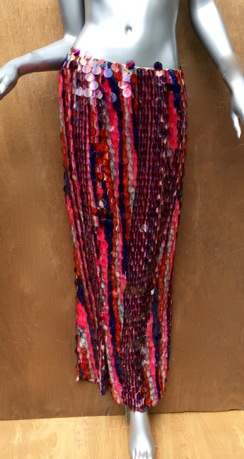 designer couture Maxi Skirt red white and blue Image 4