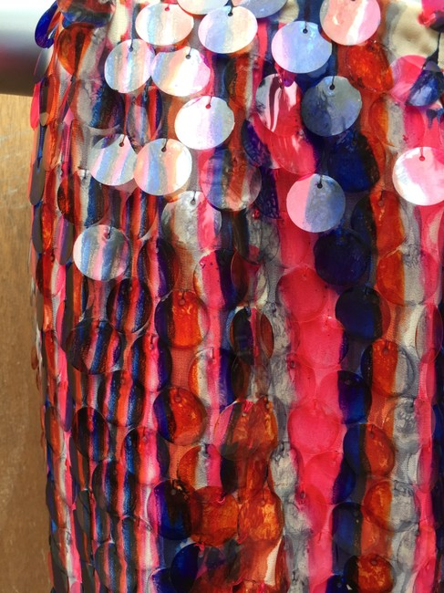 designer couture Maxi Skirt red white and blue Image 5
