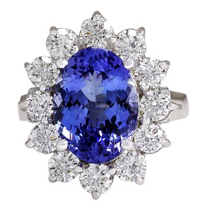 Fashion Strada 5.98CTW Natural Blue Tanzanite And Diamond Ring 14K Solid White Gold