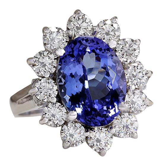 Fashion Strada 5.98CTW Natural Blue Tanzanite And Diamond Ring 14K Solid White Gold Image 1