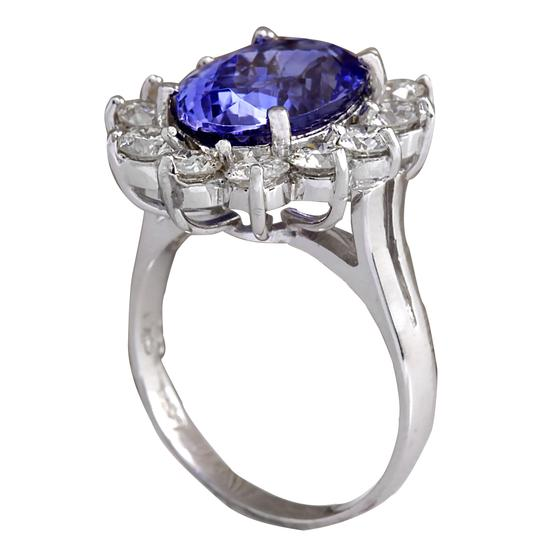 Fashion Strada 5.98CTW Natural Blue Tanzanite And Diamond Ring 14K Solid White Gold Image 2