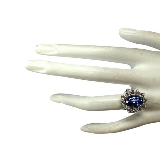 Fashion Strada 5.98CTW Natural Blue Tanzanite And Diamond Ring 14K Solid White Gold Image 3