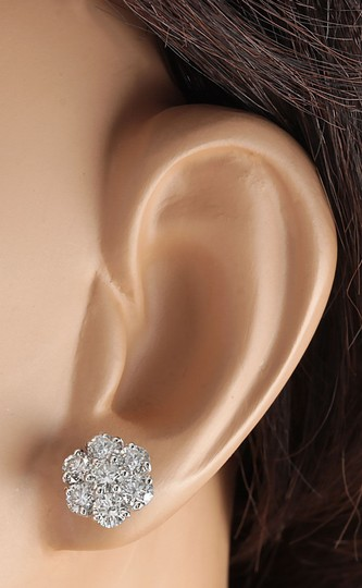 Fashion Strada 2.80CTW Natural Diamond Earrings 14K Solid White Gold Image 2
