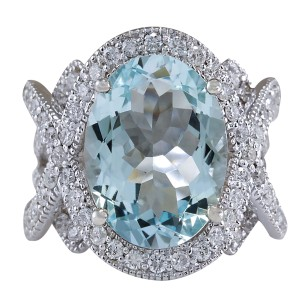 Fashion Strada 8.91 Carat Natural Aquamarine 14K White Gold Diamond Ring
