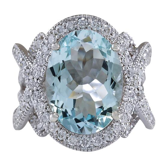 Fashion Strada 8.91 Carat Natural Aquamarine 14K White Gold Diamond Ring Image 0
