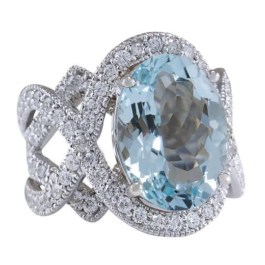 Fashion Strada 8.91 Carat Natural Aquamarine 14K White Gold Diamond Ring Image 1