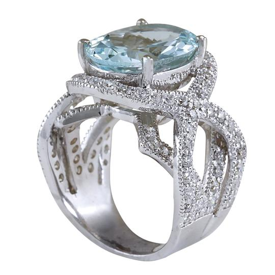 Fashion Strada 8.91 Carat Natural Aquamarine 14K White Gold Diamond Ring Image 2