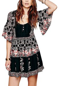 Free People short dress Black Bohemian Classic Spring Summer Boho Fp Red Floral Printed Eyelet Swing on Tradesy