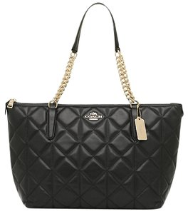 Coach Leather Ava Quilted Tote in Black