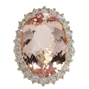 Fashion Strada 17.14CTW Natural Morganite And Diamond Ring In 14K Solid Yellow Gold