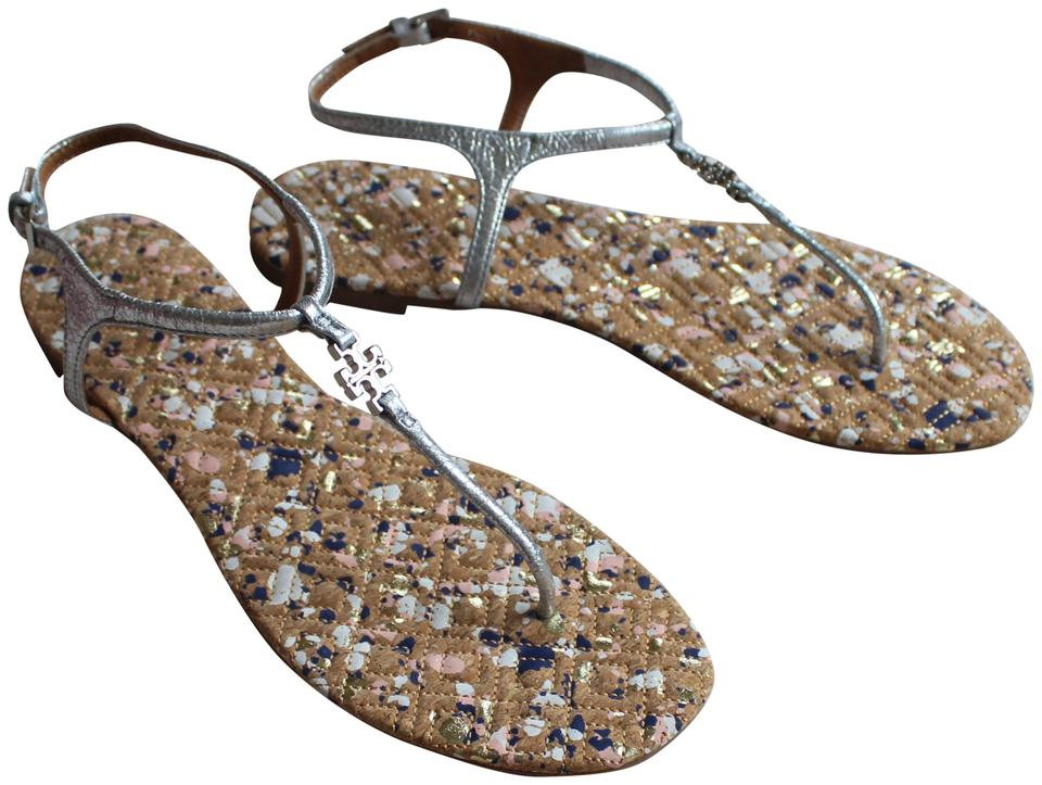 2395293b7524c Tory Burch Beige Silver Marion Metallic Burnished Leather Sandals ...