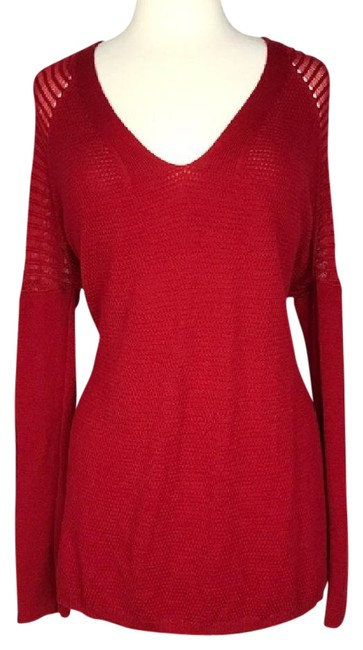 Preload https://img-static.tradesy.com/item/21356250/eileen-fisher-red-loose-fit-drop-shoulder-knit-sweaterpullover-size-6-s-0-1-650-650.jpg