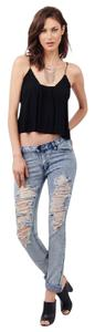 Tobi Low Rise Distressed Destoryed Denim Straight Leg Jeans-Distressed