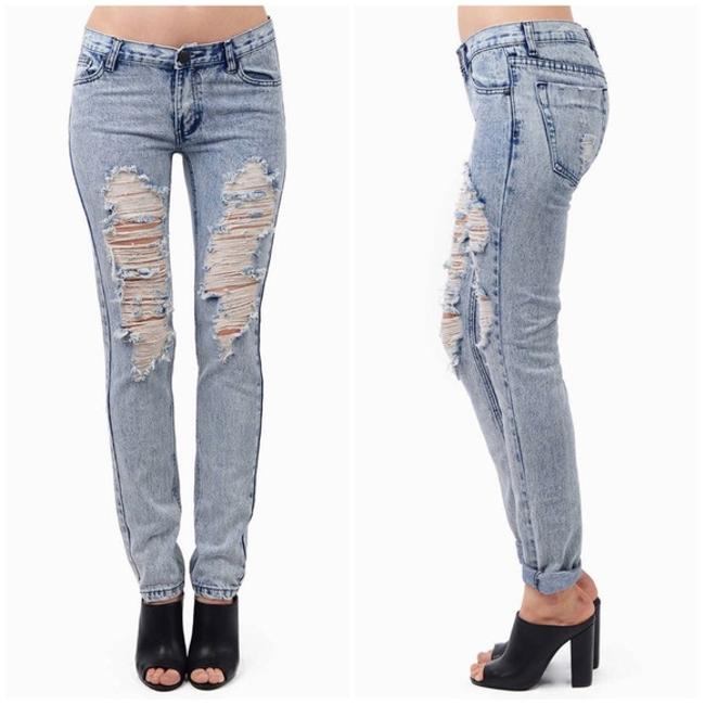 Tobi Low Rise Distressed Destoryed Denim Straight Leg Jeans-Distressed Image 1