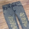 Tobi Low Rise Distressed Destoryed Denim Straight Leg Jeans-Distressed Image 3