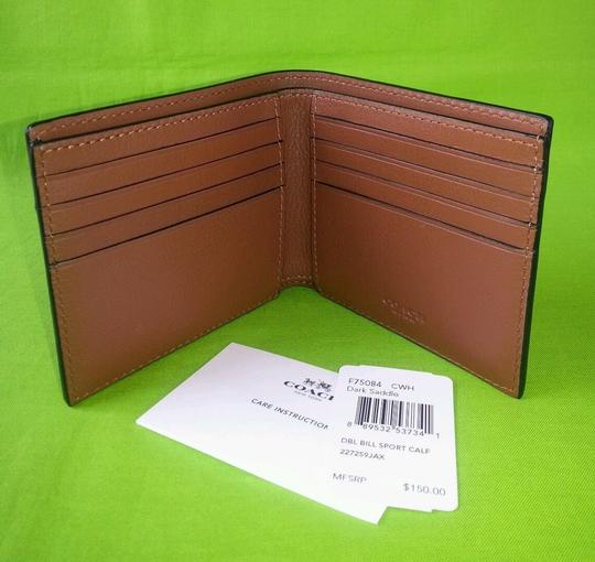 Coach Coach F75084 Double Billfold Sport Calf Leather Saddle Wallet F75084 Image 1