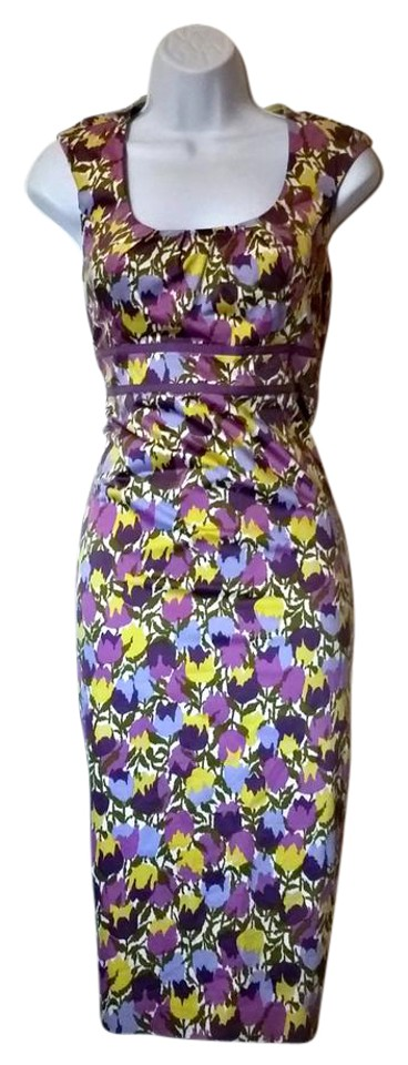 Boden purple yellow tulip floral wiggle mid length workoffice dress boden fitted wiggle floral flowers dress mightylinksfo