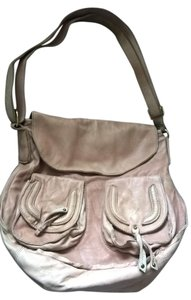 abro Distressed Leather Messenger Style Beige Handbag Front Flap Shoulder Bag