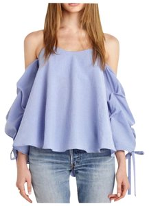 Other Off The Shoulder Side Sleeve Ruffle Top Blue