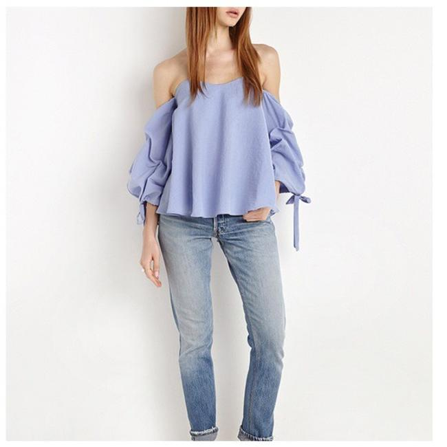 Other Off The Shoulder Side Sleeve Ruffle Top Blue Image 1