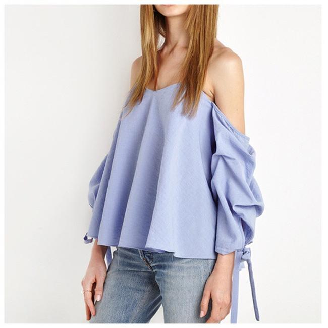 Other Off The Shoulder Side Sleeve Ruffle Top Blue Image 2